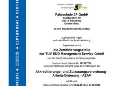 Zertifiziert nach TÜV SÜD/ Zertifizierung nach AZAV
